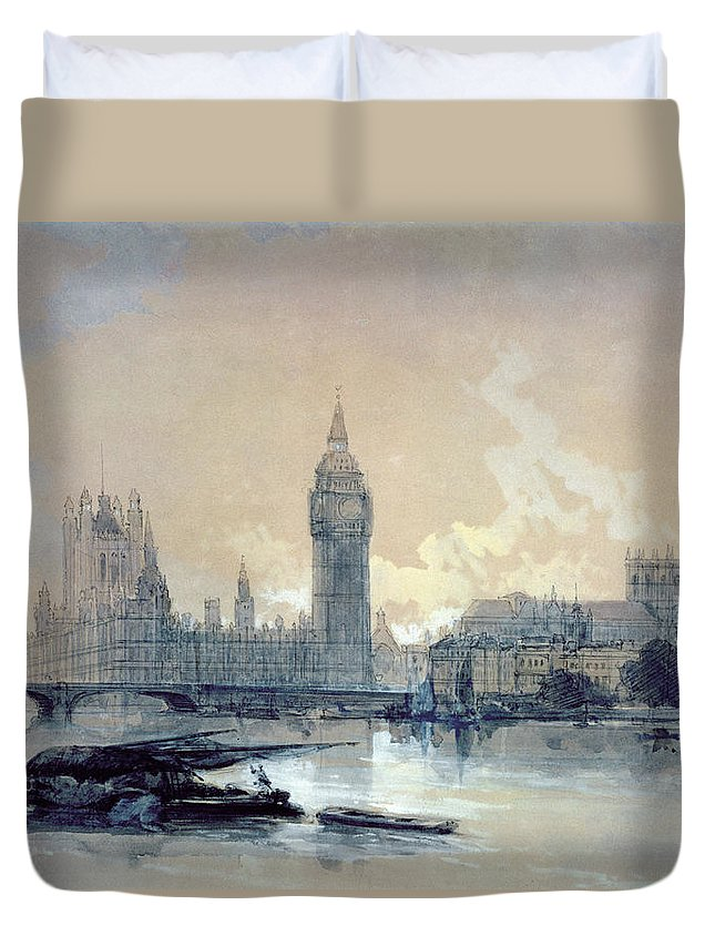 The Duvet Cover featuring the painting The Houses Of Parliament by David Roberts