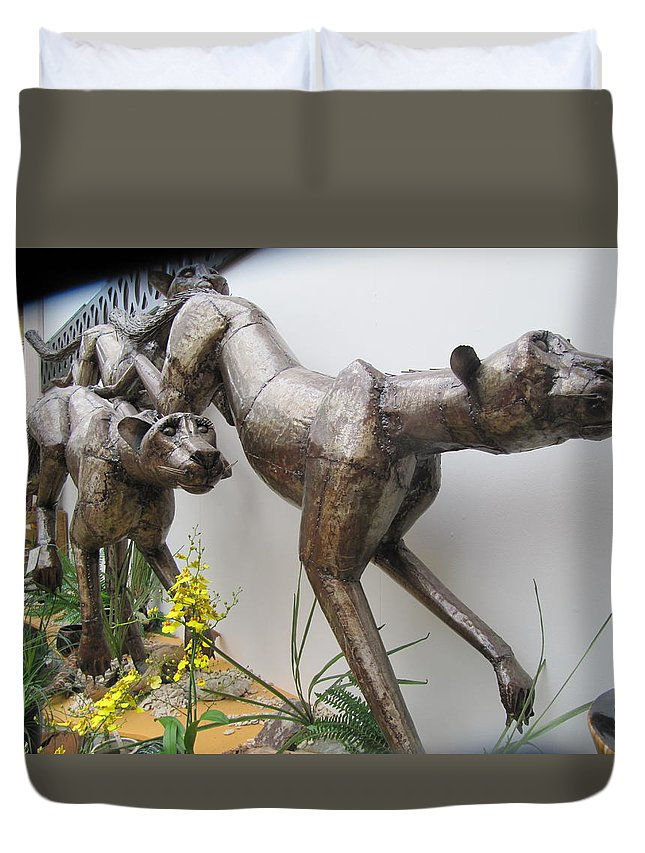 Wild Things Duvet Cover featuring the painting The Hunt Is On . by Errol Jameson