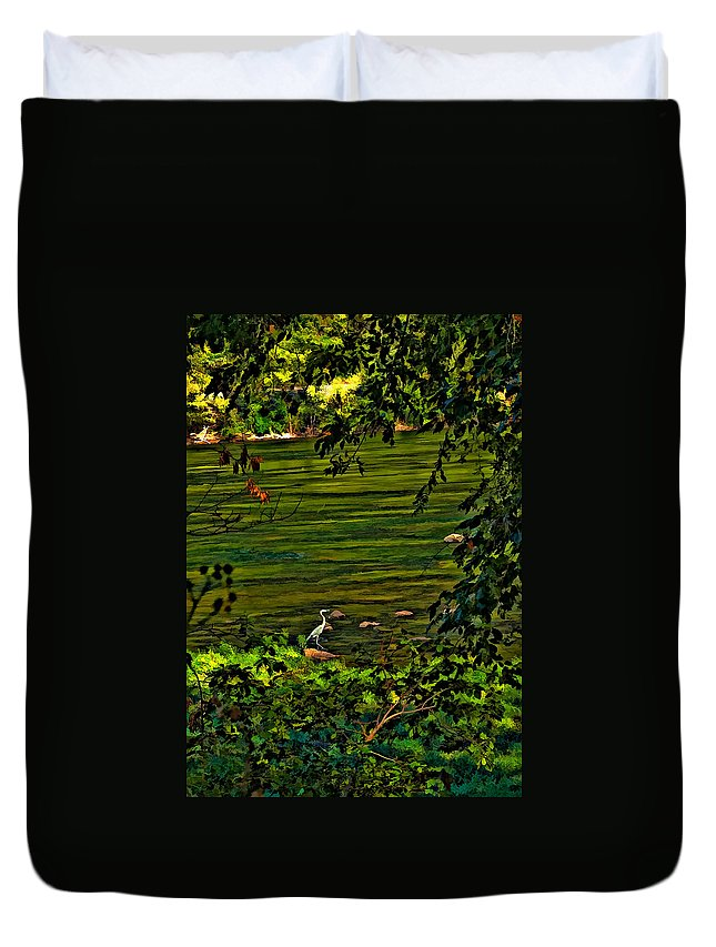 New River Duvet Cover featuring the photograph The Hunter II by Steve Harrington
