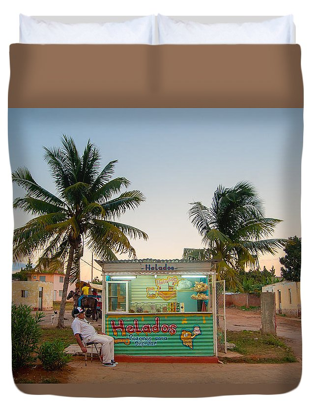 Cuba Duvet Cover featuring the photograph The Ice Cream Man by Rob Loud