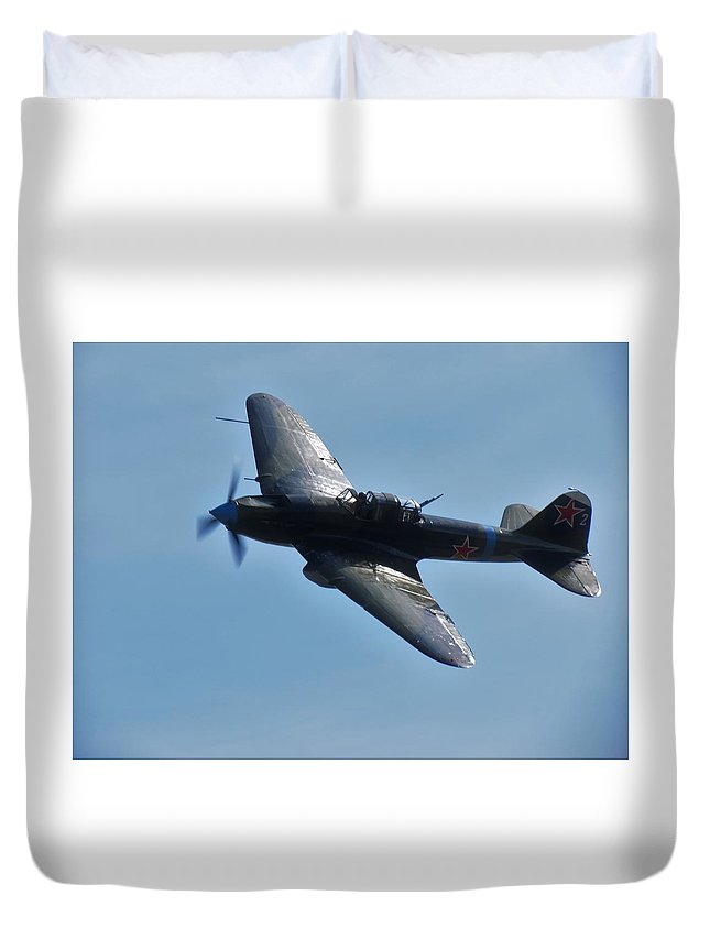 Ilyushin Il-2 Илью́шин Ил-2 Shturmovik Штурмови́к Shturmovík Flight Flying War Planes Wwii Soviet Russia Duvet Cover featuring the photograph The Ilyushin Il-2 In Flight by Daniel Mazzei