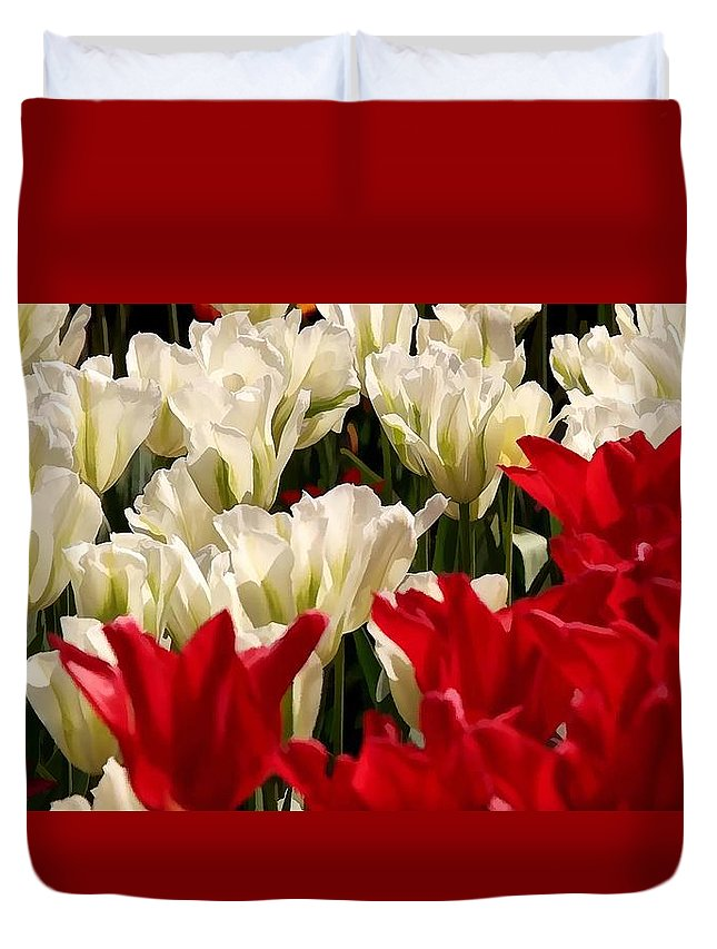 The Image Of A Tulip Duvet Cover featuring the painting The Image Of A Tulip by Jeelan Clark