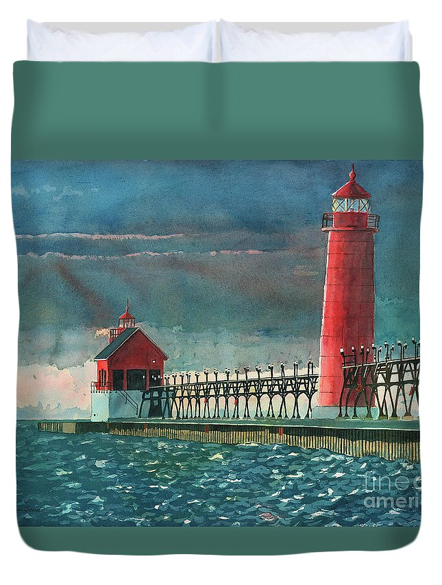 Lighthouses Duvet Cover featuring the painting The Impending Storm by LeAnne Sowa