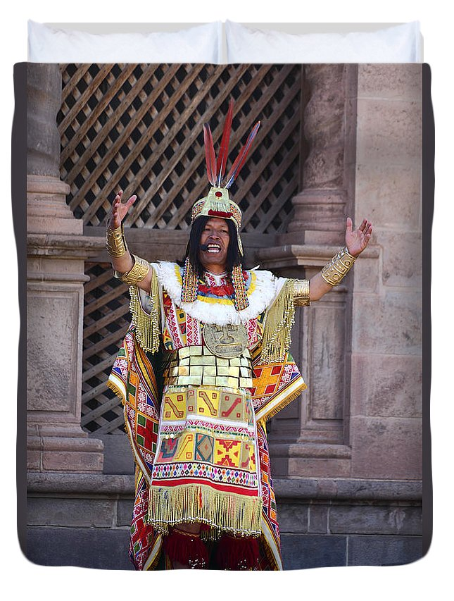 Peru Duvet Cover featuring the photograph The Inca At Inti Raymi by James Brunker