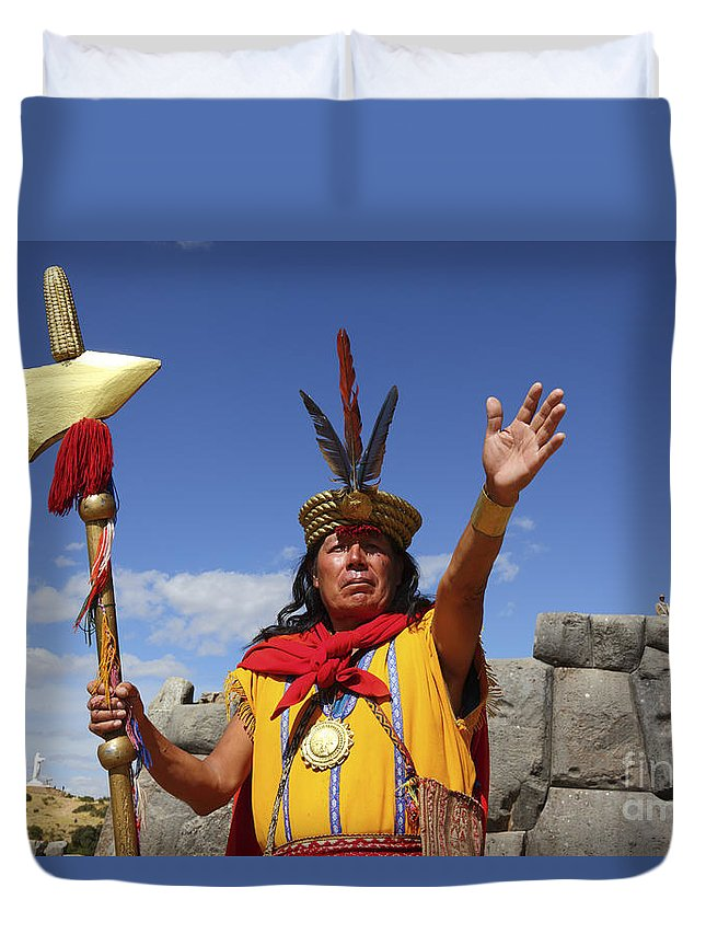 Peru Duvet Cover featuring the photograph The Inca At Sacsayhuaman by James Brunker