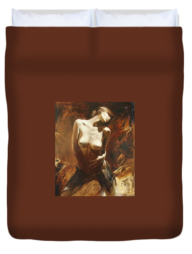 Oil Duvet Cover featuring the painting The Incinerating Passion by Sergey Ignatenko