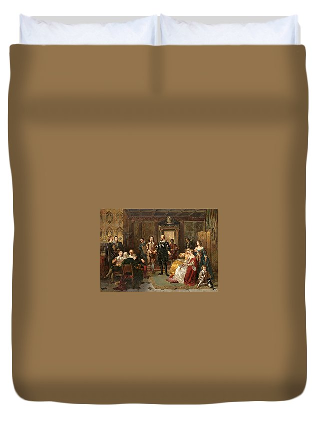 Ladislaus Bakalowicz Duvet Cover featuring the painting The Introduction by Ladislaus Bakalowicz