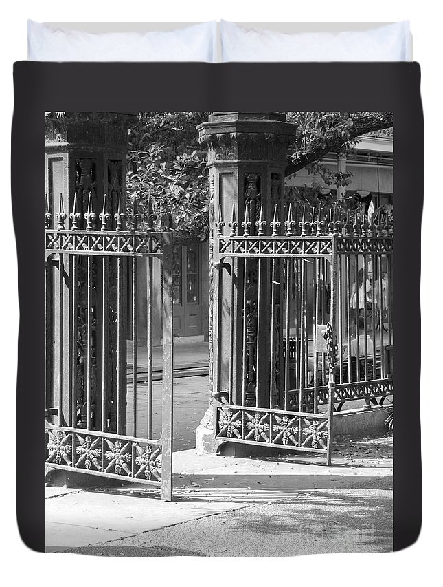 French Quarter Duvet Cover featuring the photograph The Iron Gates by Michelle Powell