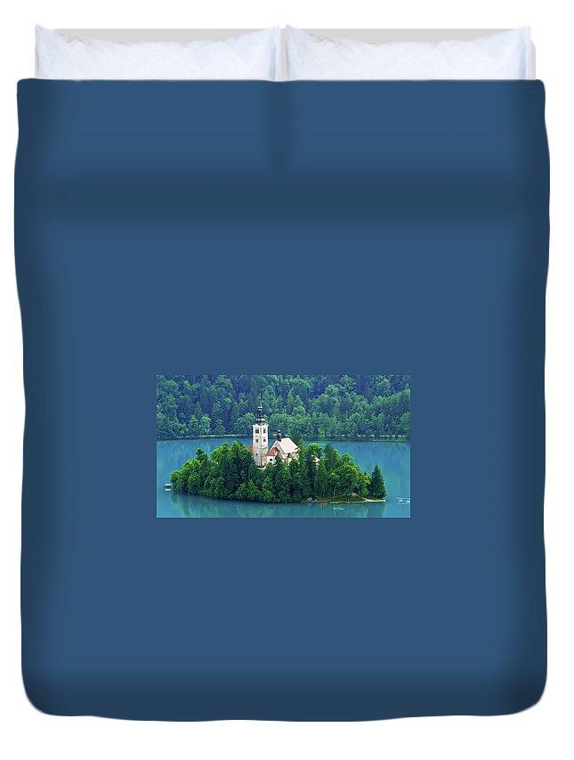 Island Duvet Cover featuring the photograph The Island by Daniel Csoka