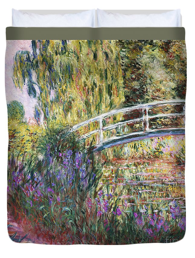 Monet Duvet Cover featuring the painting The Japanese Bridge by Claude Monet