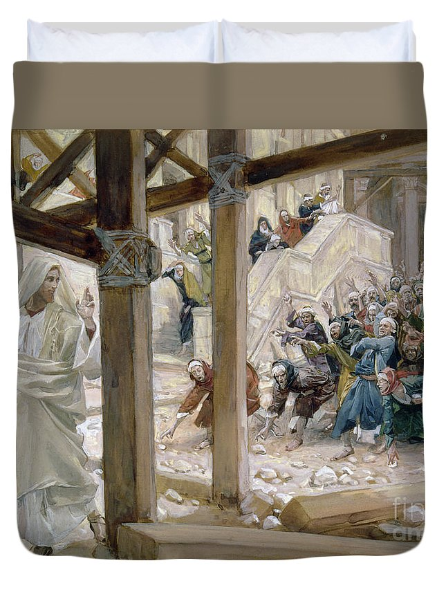 Jesus Duvet Cover featuring the painting The Jews Took Up Stones To Cast At Him by Tissot