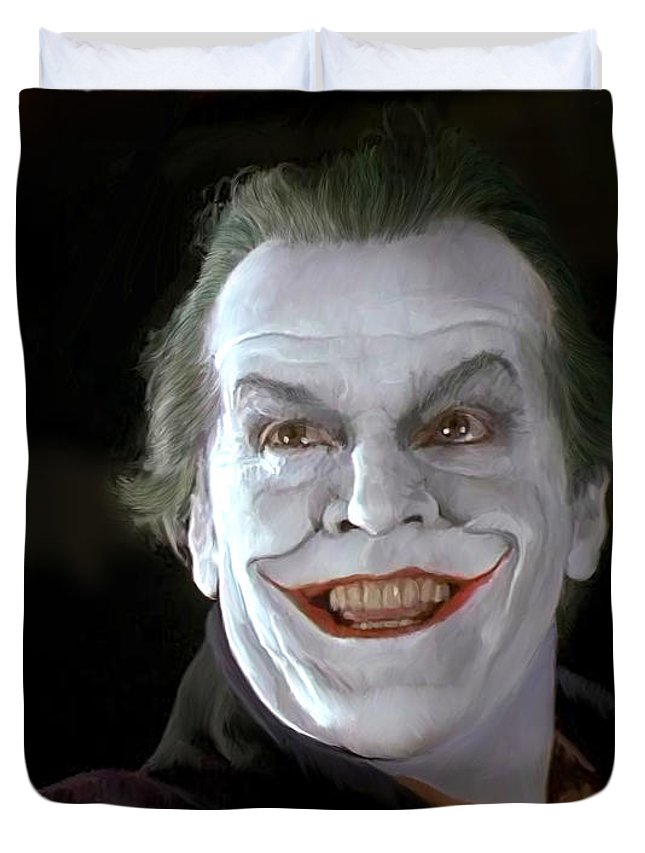 Batman Duvet Cover featuring the painting The Joker by Paul Tagliamonte