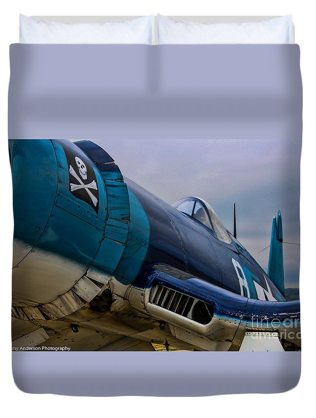 Vought F4u-1 Corsair Duvet Cover featuring the photograph The Jolly Roger by Tommy Anderson