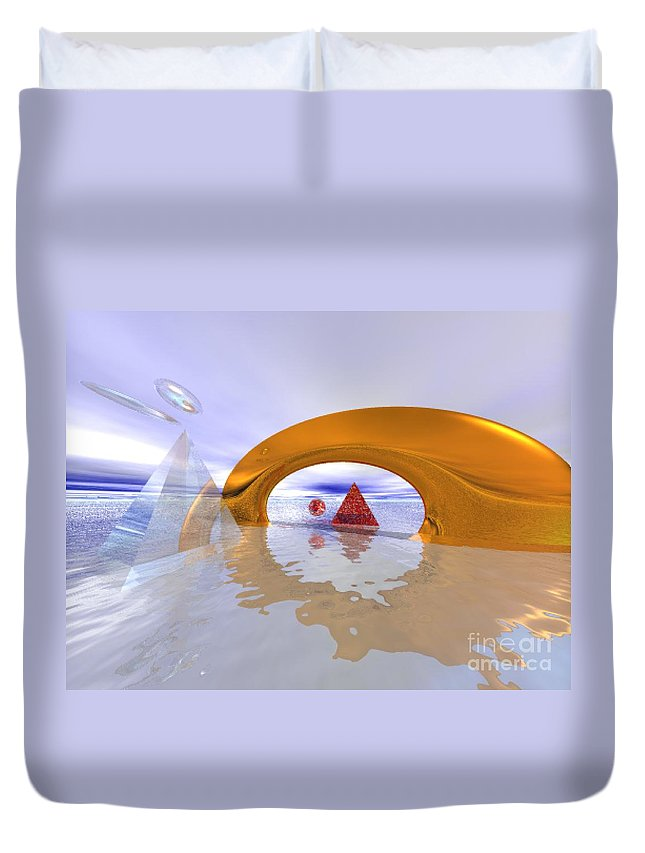 Fantasy Duvet Cover featuring the digital art The Journey Beyond by Oscar Basurto Carbonell