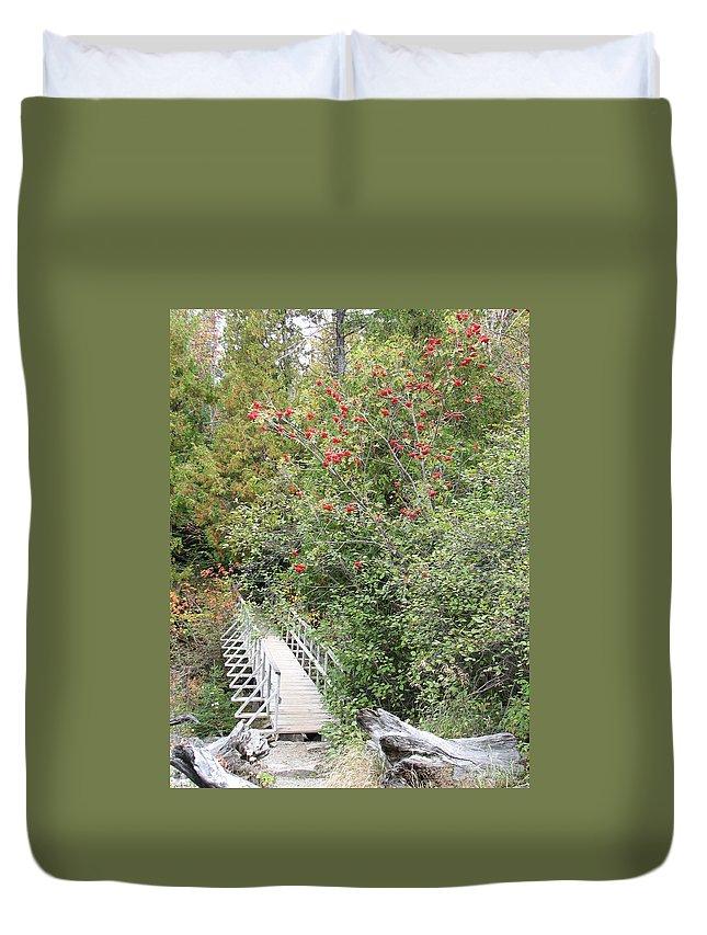 Bridge Duvet Cover featuring the photograph The Journey by Kelly Mezzapelle