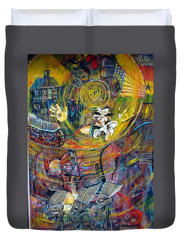 Figures Duvet Cover featuring the painting The Journey by Peggy Blood