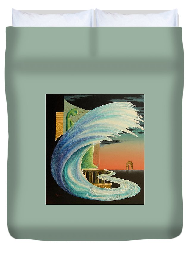 Romantic Duvet Cover featuring the painting The Journy-17 by Raju Bose