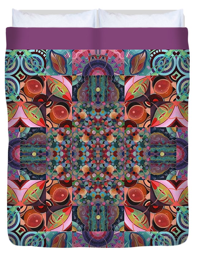 The Joy Of Design Mandala Series Puzzle 7 Arrangement 4 By Helena Tiainen Duvet Cover featuring the mixed media The Joy Of Design Mandala Series Puzzle 7 Arrangement 4 by Helena Tiainen