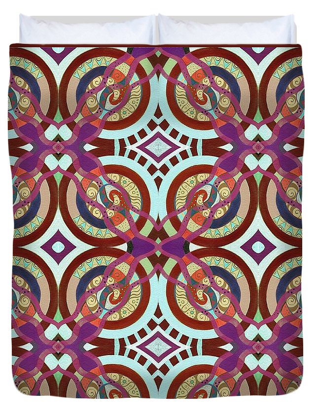 Circles Duvet Cover featuring the mixed media The Joy Of Design X L I Arrangement 3 Inverted by Helena Tiainen