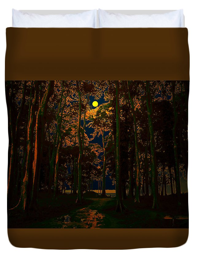 Jungle Duvet Cover featuring the digital art The Jungle Moon by Bliss Of Art