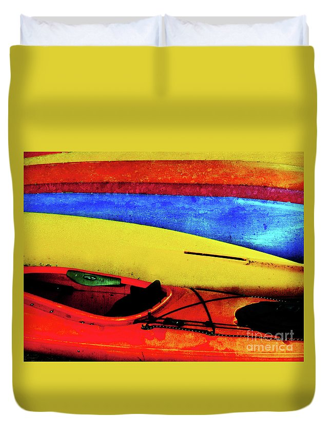 Kayaks Duvet Cover featuring the photograph The Kayaks by Tara Turner