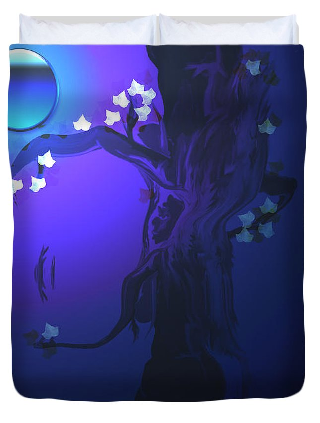 Tree Moon Spider Leaves Blue Feelings Lonely Drawing Dark Duvet Cover featuring the digital art The Keeper by Andrea Lawrence