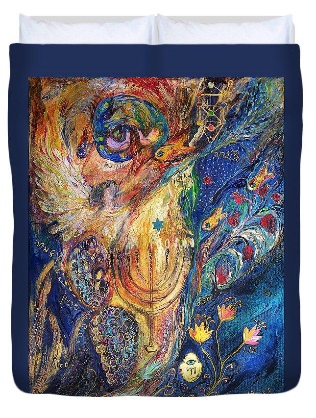 Original Duvet Cover featuring the painting The Keeper Of Menorah by Elena Kotliarker