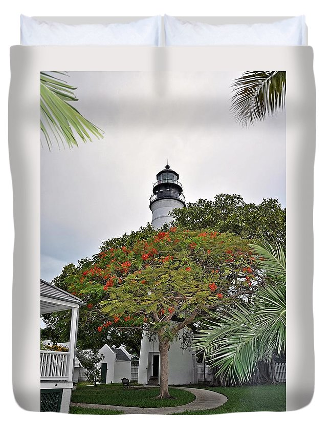 Key Wes Duvet Cover featuring the photograph The Key West Lighthouse by Bill Cannon