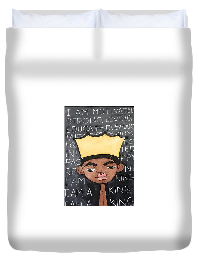 King Duvet Cover featuring the painting The King by Deborah Carrie