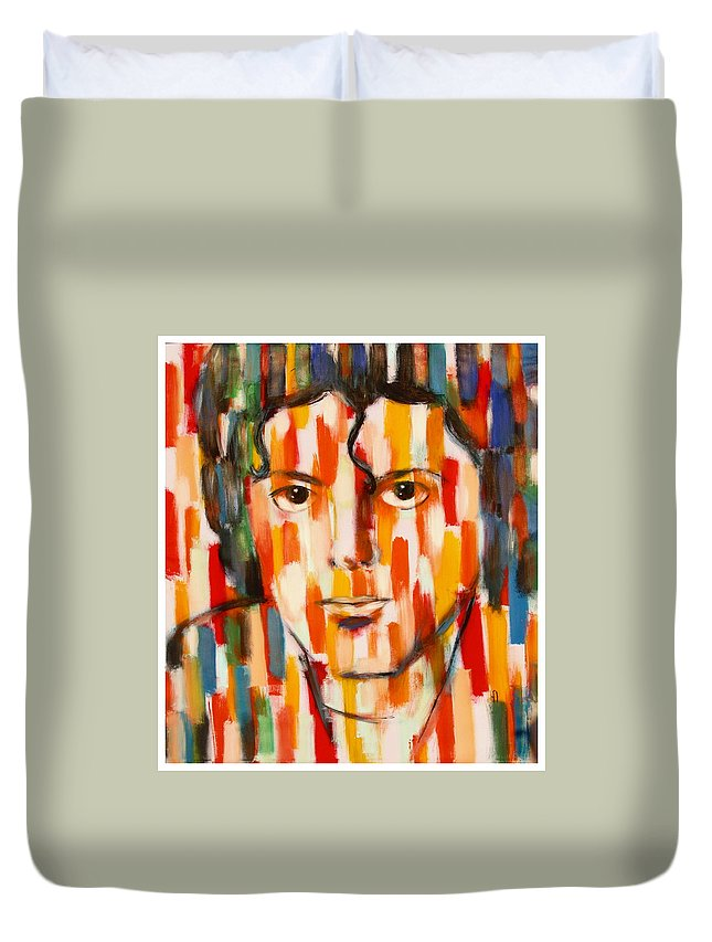 Michael Jackson Duvet Cover featuring the painting the king of pop Michael Jackson by Habib Ayat