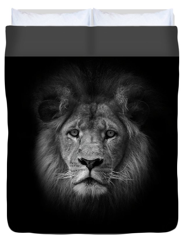 Black & White Duvet Cover featuring the photograph The King by Photopoint Art