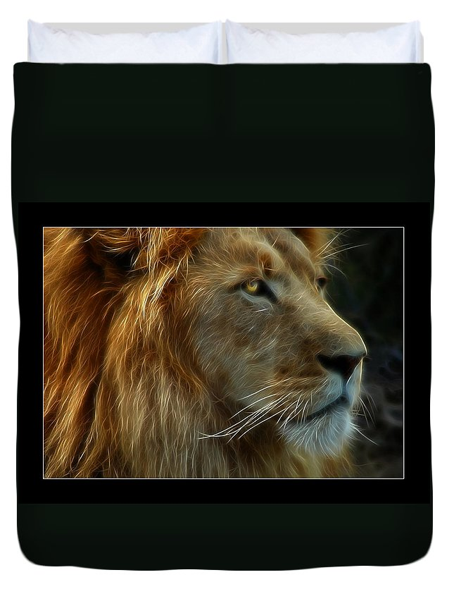 Lion Duvet Cover featuring the photograph The King by Ricky Barnard