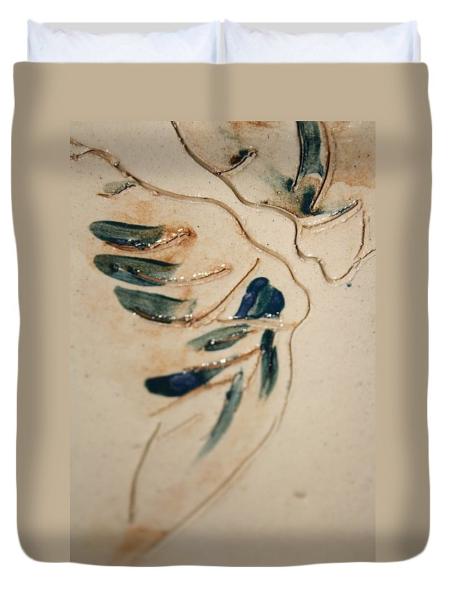 Gloria Ssali Duvet Cover featuring the ceramic art the Kiss - tile 3 by Gloria Ssali
