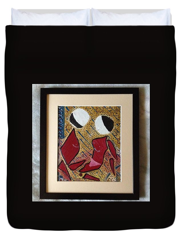Kiss Figures Modern Pieces Of Canvas Dots Duvet Cover featuring the painting The Kiss by Costin Tudor