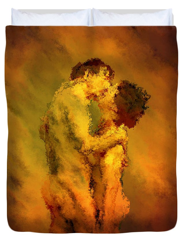 Nudes Duvet Cover featuring the photograph The Kiss by Kurt Van Wagner