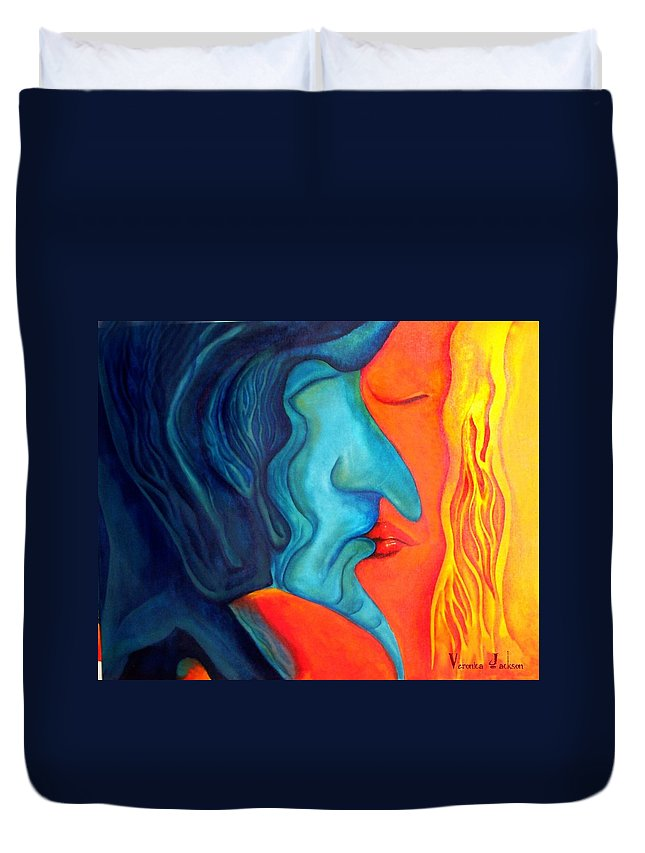Kiss Love Passion Couple Intensity Blue Orange Fire Lust Sex Duvet Cover featuring the painting The Kiss by Veronica Jackson