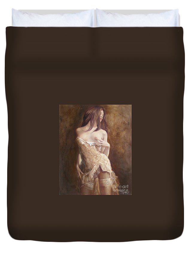 Art Duvet Cover featuring the painting The Laces by Sergey Ignatenko
