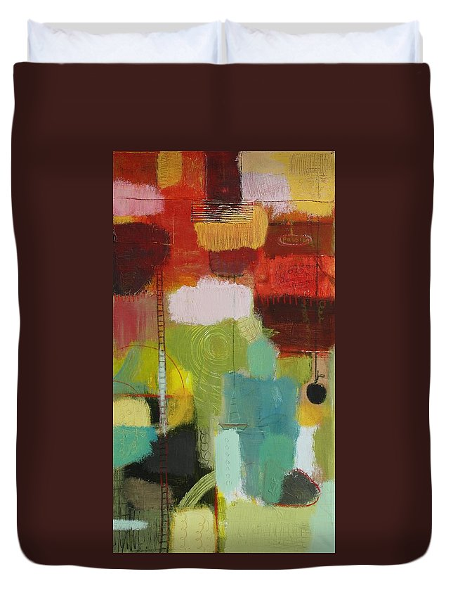 Abstract Duvet Cover featuring the painting The Ladder Of Life by Habib Ayat