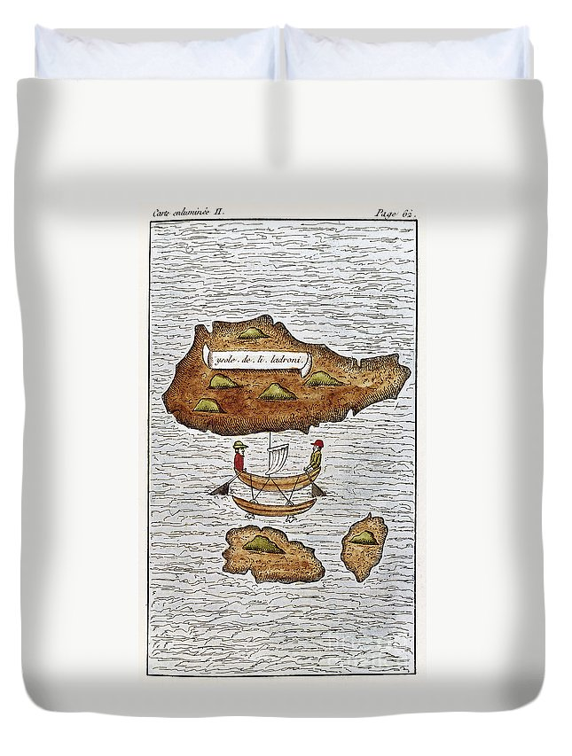 1521 Duvet Cover featuring the photograph The Ladrone Islands by Granger
