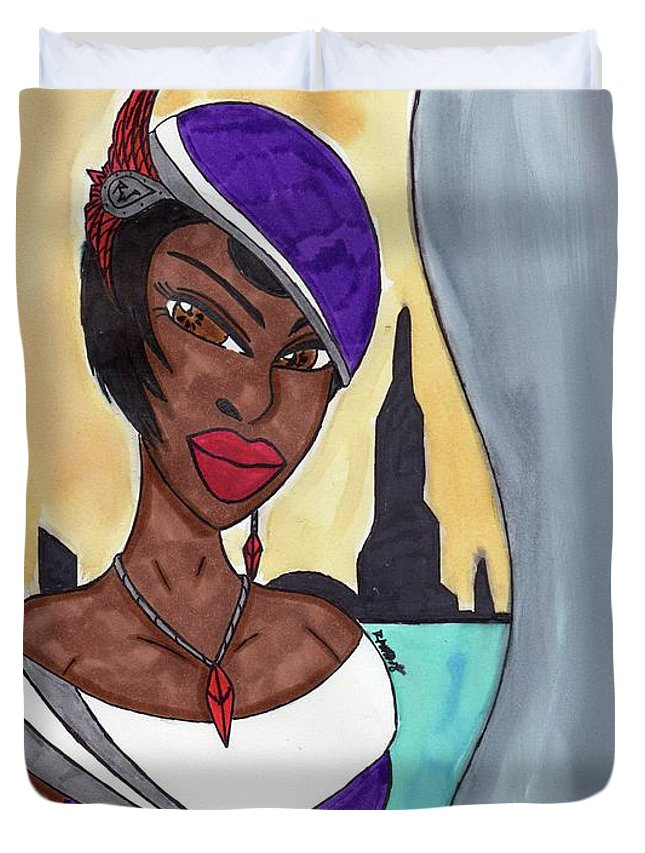 Original Character Duvet Cover featuring the mixed media The Lady Of The City by Ronald Woods