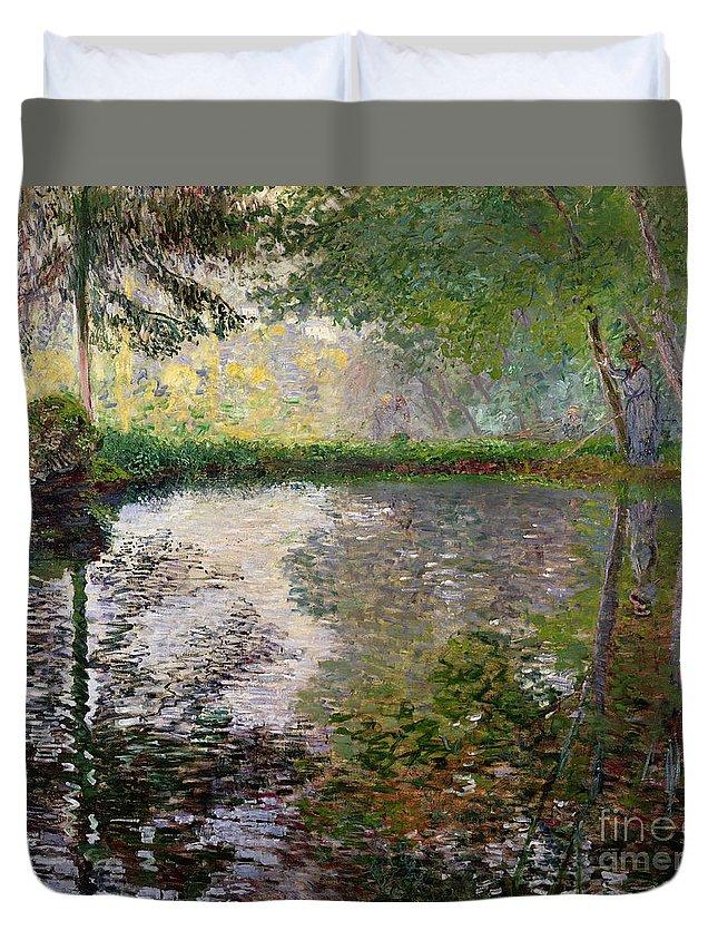 The Lake At Montgeron By Claude Monet (1840-1926) Duvet Cover featuring the painting The Lake At Montgeron by Claude Monet