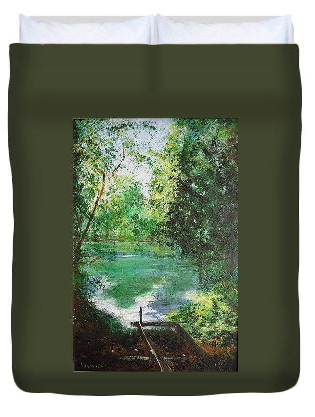 Lake Duvet Cover featuring the painting The Lake At Stansted Unfinished by Lizzy Forrester