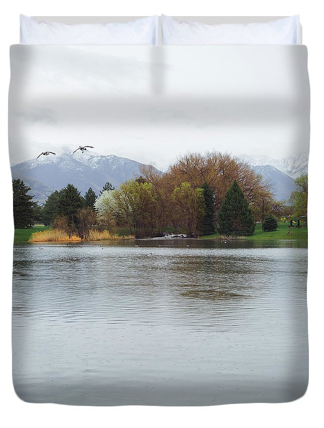 Fishing Industry Duvet Cover featuring the photograph The Lake View by Konstantin Khanov
