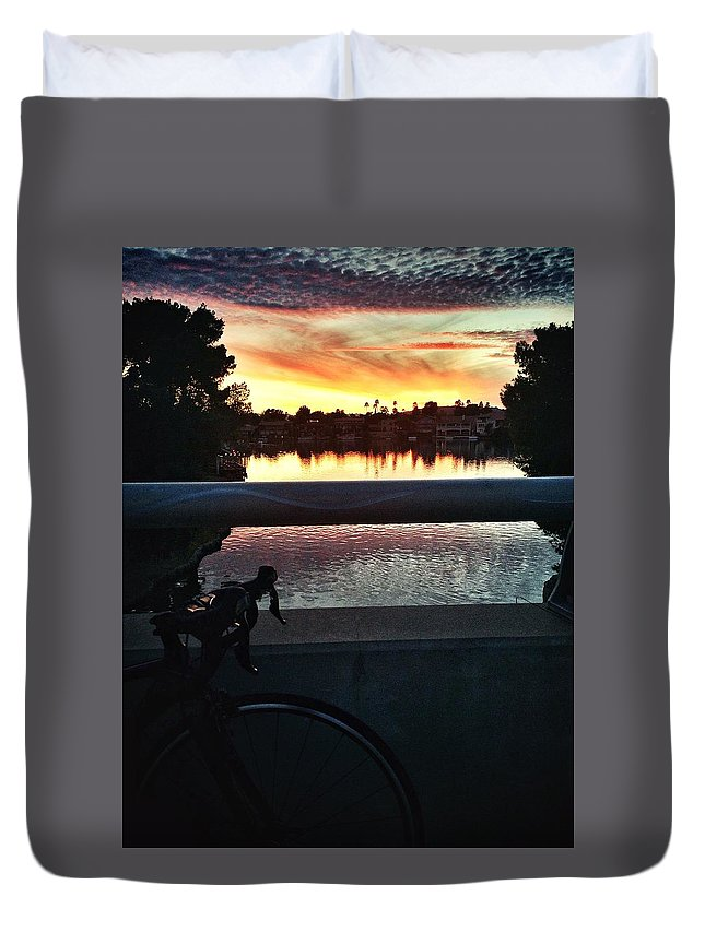 Road Bike Duvet Cover featuring the photograph The Lakes by Shaina Najim