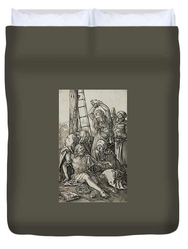 Albrecht Durer Duvet Cover featuring the relief The Lamentation by Albrecht Durer