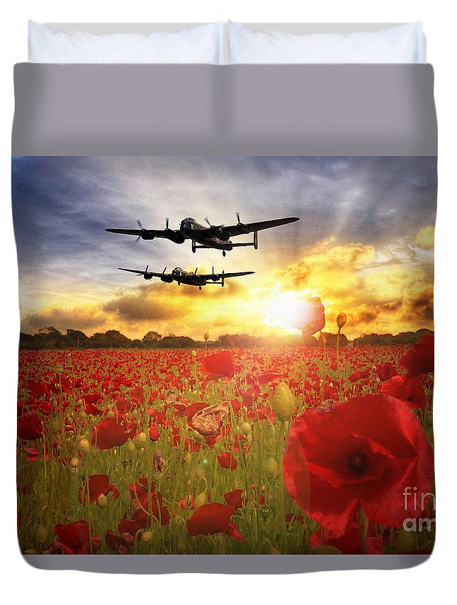 Avro Duvet Cover featuring the digital art The Lancasters by J Biggadike