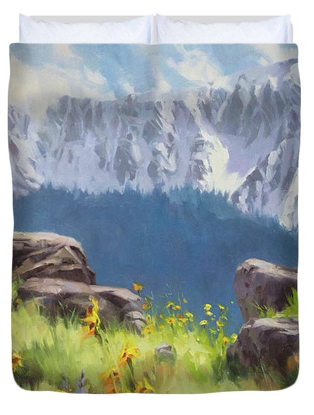 Landscape Duvet Cover featuring the painting The Land Of Chief Joseph by Steve Henderson