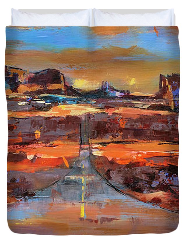 Monument Valley Duvet Cover featuring the painting The Land Of Rock Towers by Elise Palmigiani
