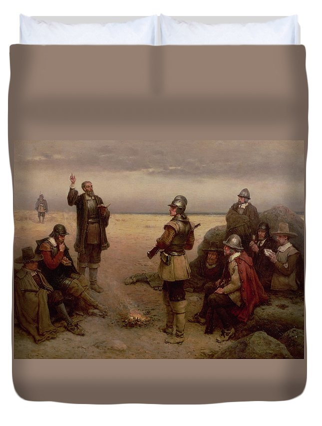 Helmet; Breast Plate; Roundhead; Round; Head; New; World; Founding; Pilgrims; Settlers; United States; Plymouth; Arrival; America; American Beach; Beach; Coast; Coastal Duvet Cover featuring the painting The Landing Of The Pilgrim Fathers by George Henry Boughton
