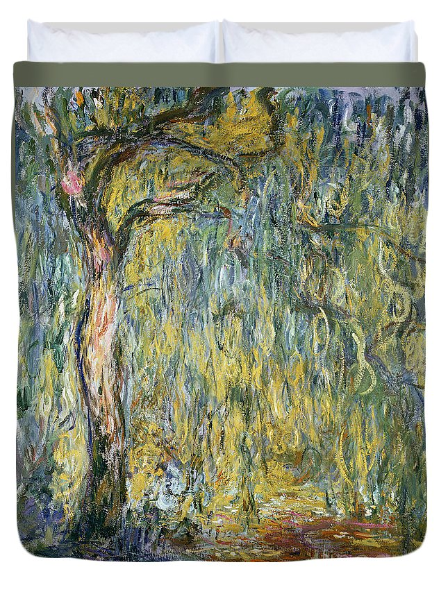 Claude Duvet Cover featuring the painting The Large Willow At Giverny by Claude Monet